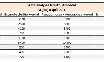 Resultaat eerste Wateranalyse